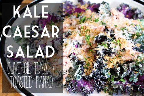 kale caesar salad with olive oil tuna and toasted panko