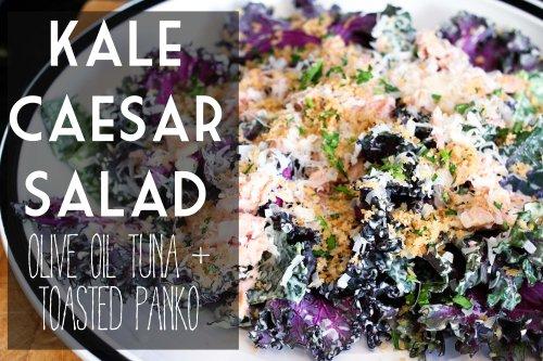kale caesar salad with olive oil tuna and toasted panko