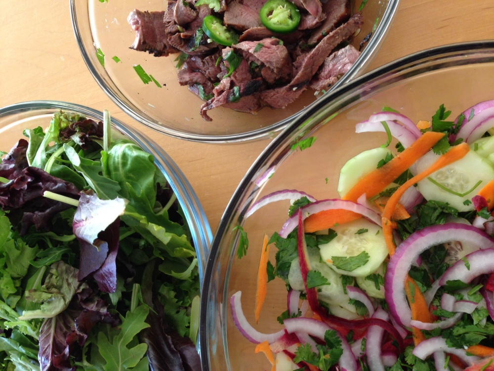 Thai Beef Salad Over Greens (1/3)
