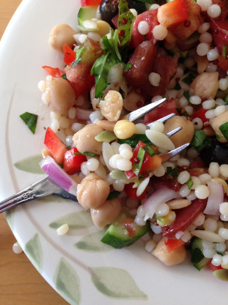 Israeli Couscous, Chickpea and Lemon Salad, Vegan (1/4)