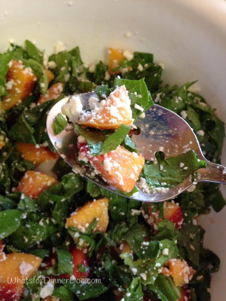 Arugula nectarine feta salad