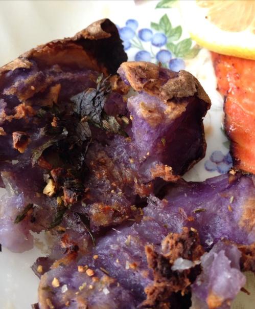 Blue smashed parsley potatoes