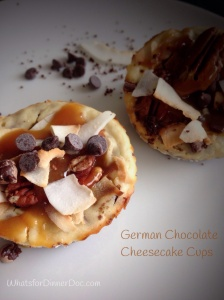 German chocolate cheesecake cups