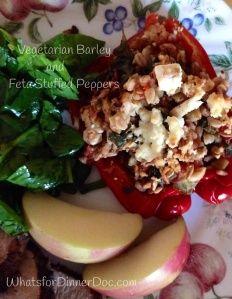 Vegetarian Barley and Feta Stuffed Peppers