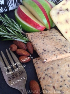 Grain free almond, flax and chia seed crackers