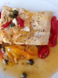 Halibut in Burst Tomato Wine Sauce