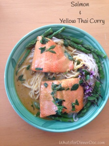 Salmon and yellow Thai curry