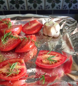 Roasting Tomatoes and Garlic