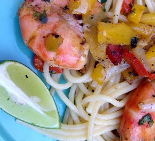 Healthy grilled spicy shrimp, sweet pepper pasta