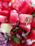 Sweet, spicy watermelon salsa for fish or chicken or as a salad. Easy Mexican salsa.