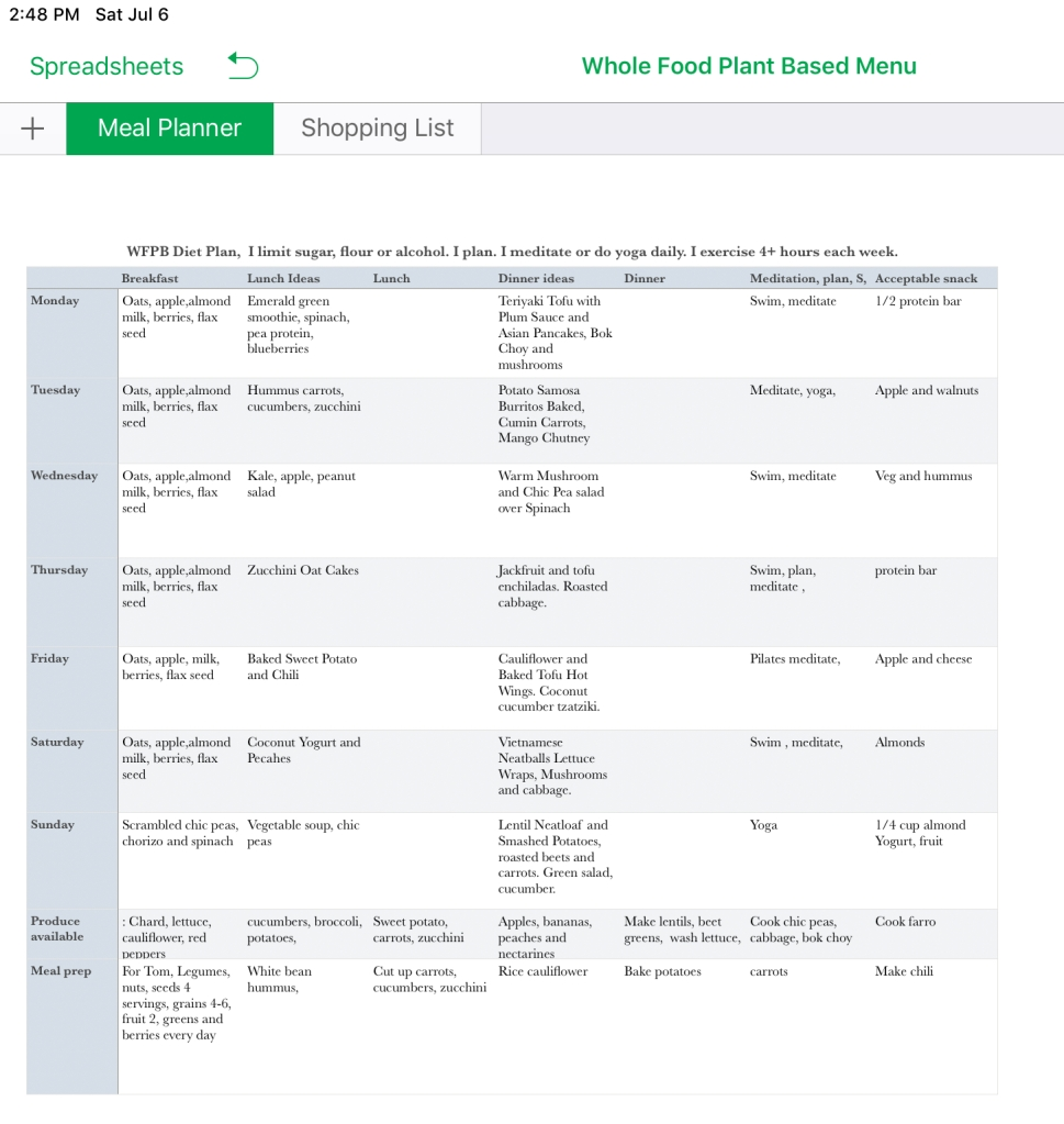 Whole Food Plant Based Menu